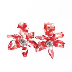 Lele Sadoughi Red Small Cherry Crystal Lily Flower